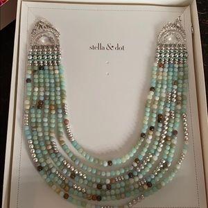 BNIB Stella & Dot stone & silver 7 layer bib neck